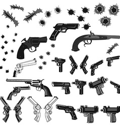 Guns and bullet holes set vector