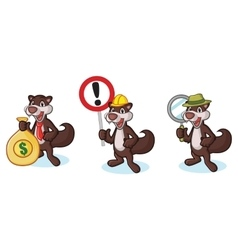 Dark brown polecat mascot with sign vector
