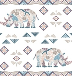Seamless rhino pattern made from flowers leaves vector