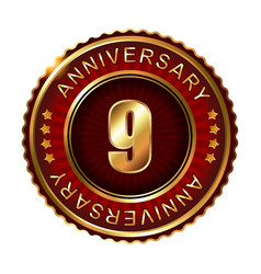 9 years anniversary golden label vector image vector image