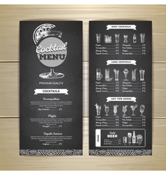 Vintage chalk drawing cocktail menu design vector