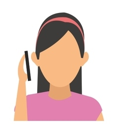 woman on the cellphone icon vector image