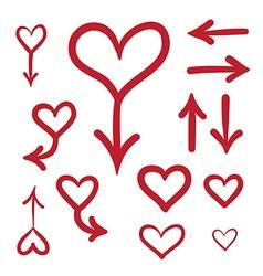 Hand Drawn Love Heart Set vector image