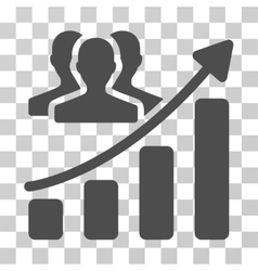 Audience growth chart icon vector