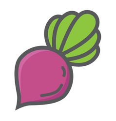 Beet colorful line icon vegetable and diet vector