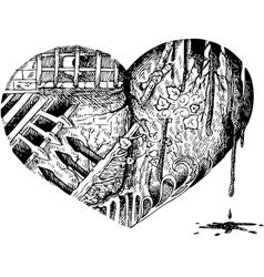 Bloody heart doodle vector image vector image