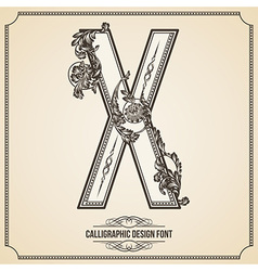 Calligraphic font Letter X vector image vector image