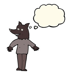 Cartoon happy werewolf with thought bubble vector