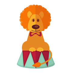 Circus trained lion isolated cartoon flat vector