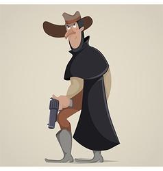 Cowboy with gun funny cartoon character vector