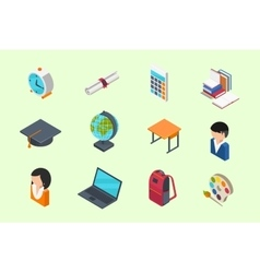 Education isometric icons vector
