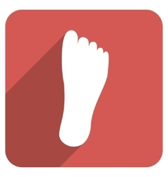 Foot sole flat rounded square icon with long vector