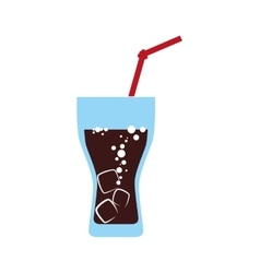 Glass and straw icon Soda and drink design vector image vector image