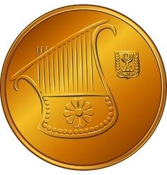 Gold israeli money half-shekel coin vector