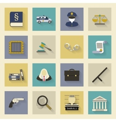 Law and justice flat icons set with shadows vector image vector image