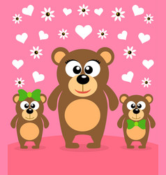 Mothers day background card with bears vector