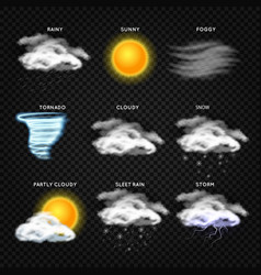 realistic weather icons isolated on vector image vector image