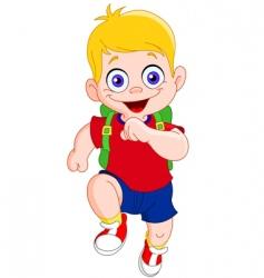 running schoolboy vector image