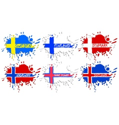 Scandinavian flags as spots vector