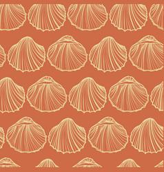 seashells seamless pattern orange vector image vector image