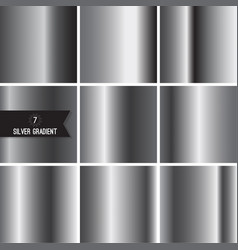 set of silver foil texture vector image