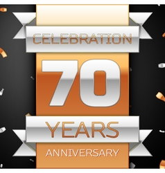 Seventy years anniversary celebration golden and vector