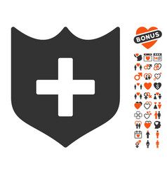 Shield icon with love bonus vector