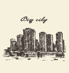 skyline skyscrapers big city concep drawn vector image vector image