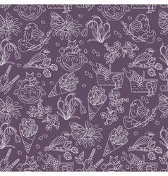 Spring thin line seamless pattern with vector