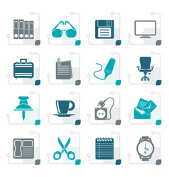stylized business and office objects icons vector image