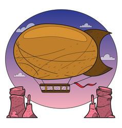 vintage airship aeronautics air vehicles vector image vector image