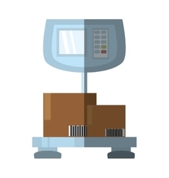 Weight scale delivery boxes cargo shadow vector