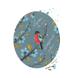 Winter Flowers and Bullfinch Drawing vector image