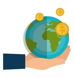 World planet with coins vector