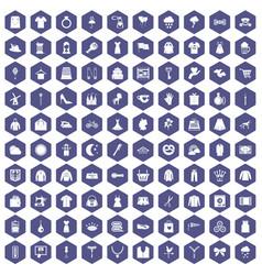 100 dress icons hexagon purple vector