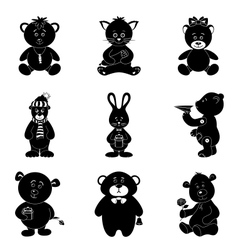Cartoon animals silhouette vector
