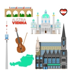 Vienna austria travel doodle with architecture vector