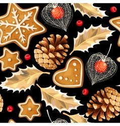 Seamless gingerbread and holly vector