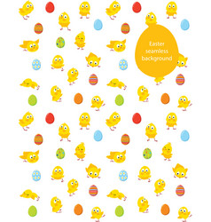 Easter seamless pattern chicks and eggs vector