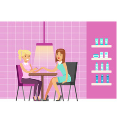 girl doing manicure in beauty salon colorful vector image