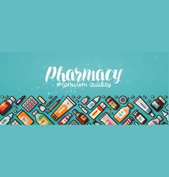 Pharmacy banner medicine medical supplies vector