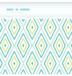 Green ikat diamonds horizontal torn seamless vector