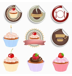 Cupcake And Labels Set vector image
