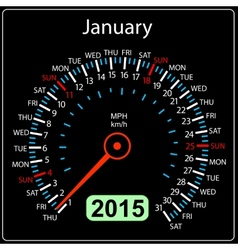 2015 year calendar speedometer car in January vector image vector image