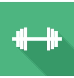 Flat long shadow barbell icon vector