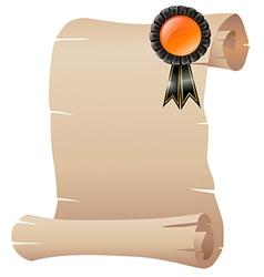 An empty scrolled paper with a ribbon vector