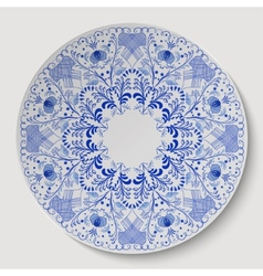 Blue round floral ornament applied to the ceramic vector