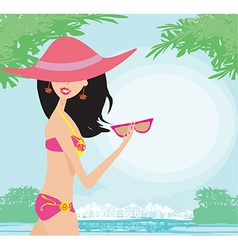 Sexy beach girl near sea water vector