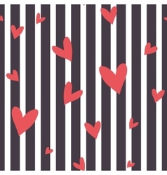 Seamless striped pattern with hearts vector