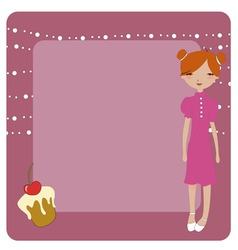 Invitation frame with funky young girl vector